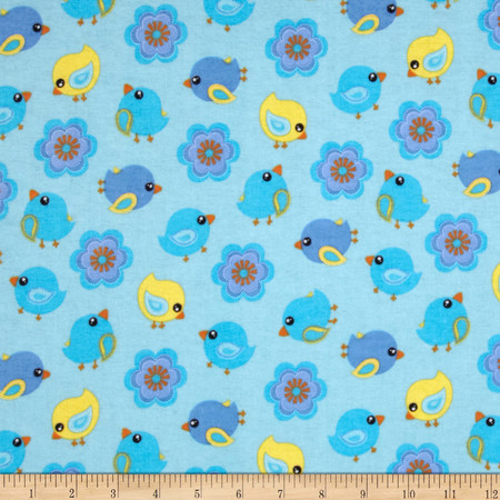 Flannel Tossed Birds & Flowers Blue Fabric
