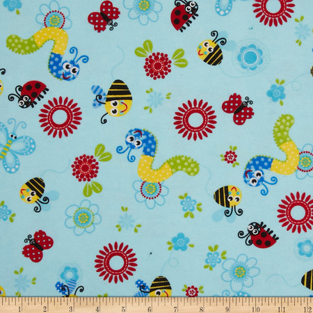 Flannel Tossed Bugs Blue Fabric