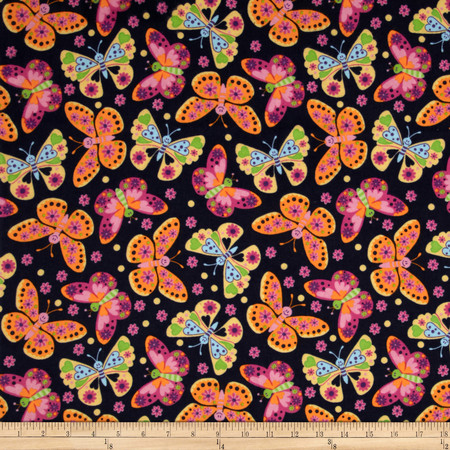 Flannel Tossed Butterflies Navy Fabric
