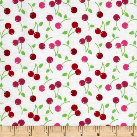 Flannel Tossed Cherries White Fabric By The Yard