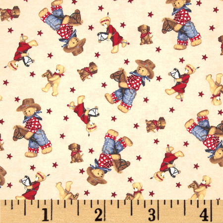 Flannel Tossed Cowboy Bears Ivory/Multi Fabric By The Yard