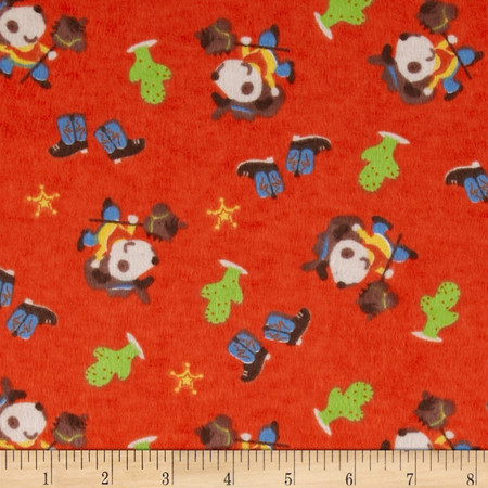 Flannel Tossed Cowboy Red Fabric