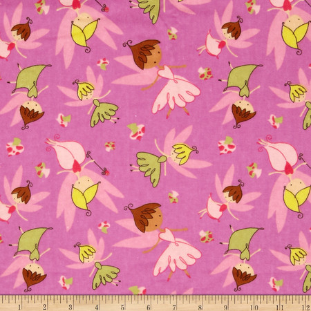 Flannel Tossed Fairies Pink Fabric