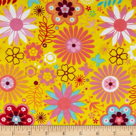 Flannel Tossed Flowers & Butterflies Yellow Fabric