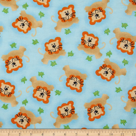 Flannel Tossed Lion Blue Fabric