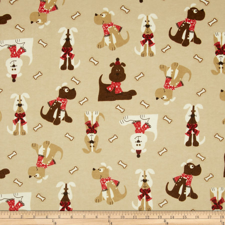 Flannel Tossed Puppies Tan Fabric
