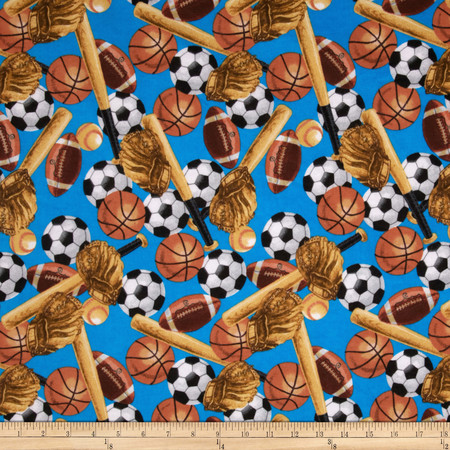 Flannel Tossed Sports Blue Fabric
