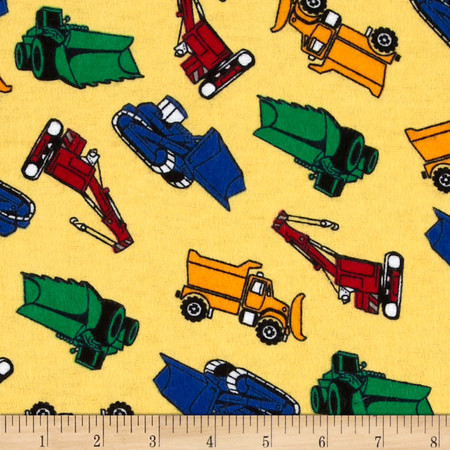 Flannel Tossed Trucks Yellow Fabric
