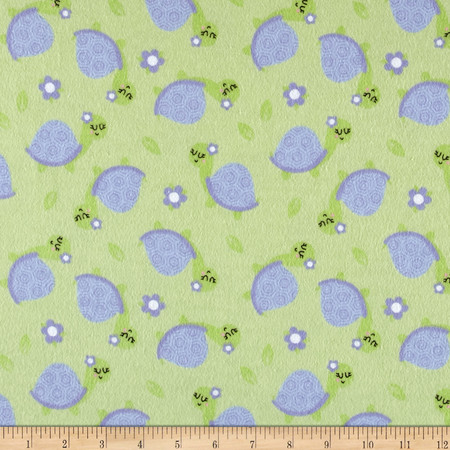 Flannel Turtle Green Fabric By The Yard