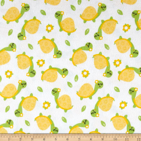 Flannel Turtle White Fabric By The Yard