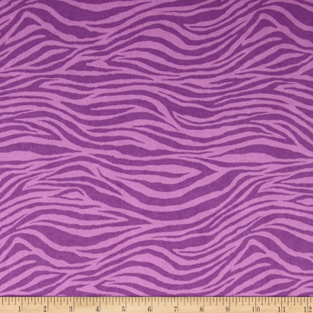 Flannel Zebra Purple Fabric By The Yard