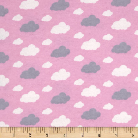 Flannelland Dreamy Clouds Pink Fabric By The Yard