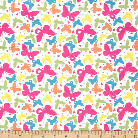 Flannelland Rainbow Butterflies White/Pink Fabric