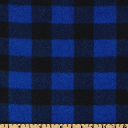 Fleece Buffalo Plaid Royal/Black Fabric By The Yard
