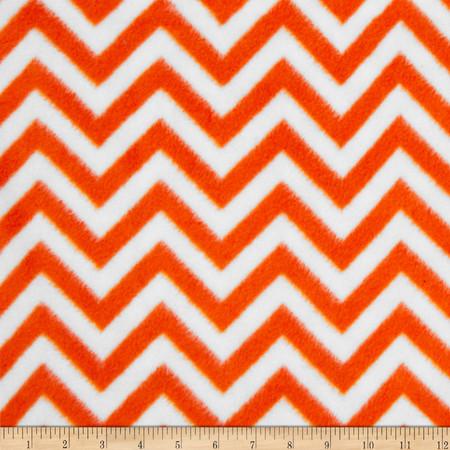 Fleece Chevron Bright Orange/White Fabric By The Yard