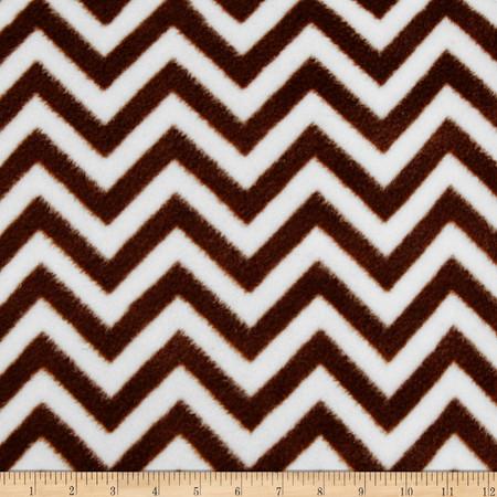 Fleece Chevron Brown/White Fabric By The Yard
