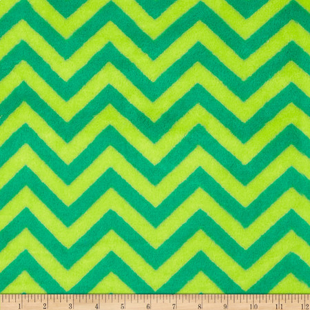 Fleece Chevron Jade/Emerald Fabric By The Yard