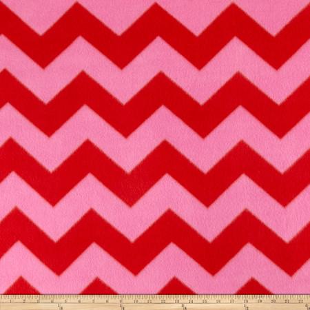 Fleece Chevron Print Coral Fabric By The Yard