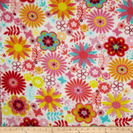 Fleece Flowers White Fabric By The Yard