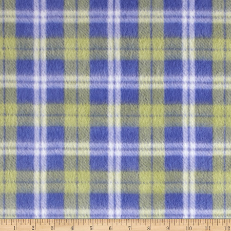 Fleece Patchwork Plaid Navy/Green/White Fabric By The Yard