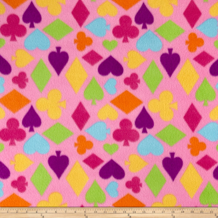 Fleece Poker Print Pink Fabric By The Yard