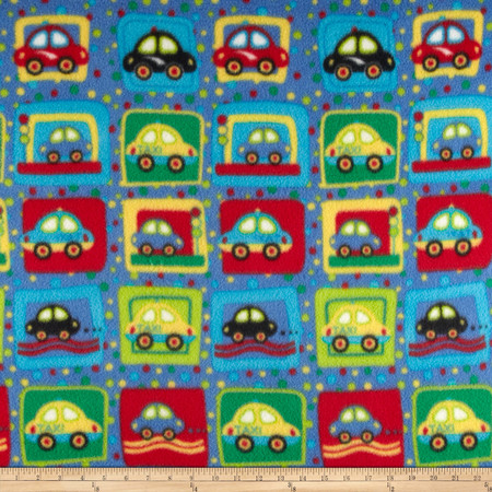 Fleece Print Cars Blue/Red/Green Fabric