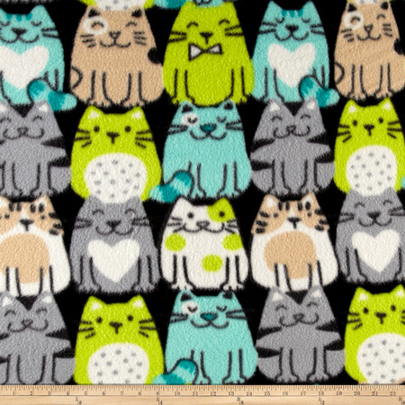 Fleece Print Packed Cats Aqua/Lime Fabric By The Yard
