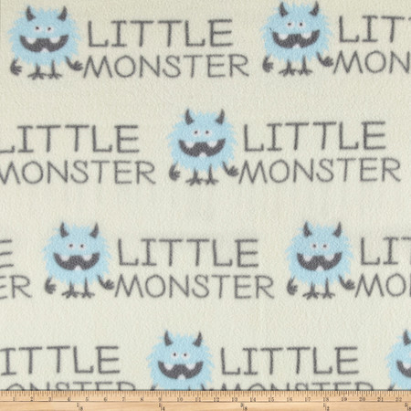 Fleece Prints Little Monsters Blue Fabric By The Yard