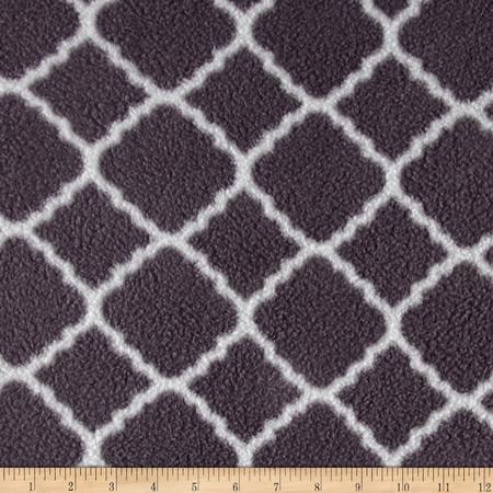 Fleece Prints Quatrefoil Gray Fabric By The Yard