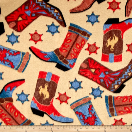Fleece Prints Western Boots Beige/Red Fabric By The Yard
