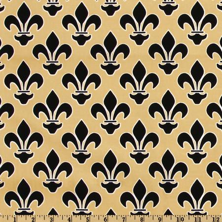 Fleur De Lis Gold/Black Fabric By The Yard