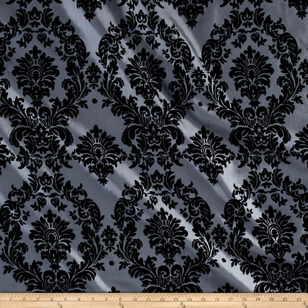 Flocked Damask Taffetta Silver/Black Fabric By The Yard
