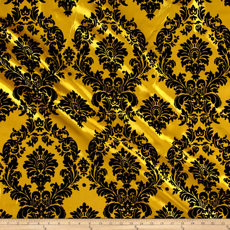Flocked Damask Taffetta Yellow/Black Fabric By The Yard