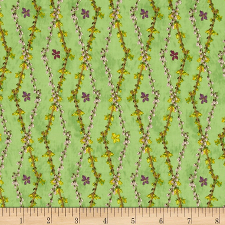 Floral Argyle Green Fabric