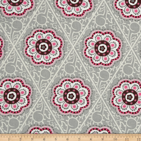 Floral Medallions Retro Flower Medallion Grey/Pink/Cream Fabric By The Yard