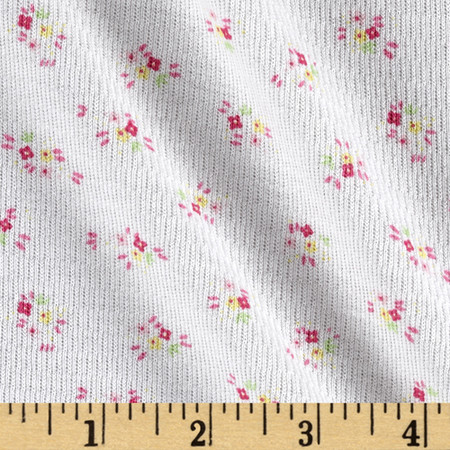 Floral Rib Knit White Fabric