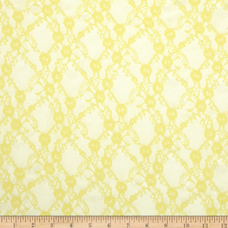 Floral Stretch Lace Yellow Fabric
