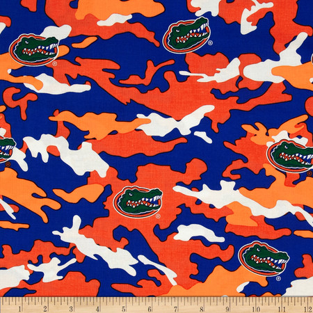 Collegiate Cotton Broadcloth University of Florida Camouflage Fabric By The Yard