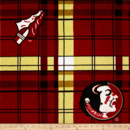 Florida State Fleece Plaid Camo Fabric By The Yard
