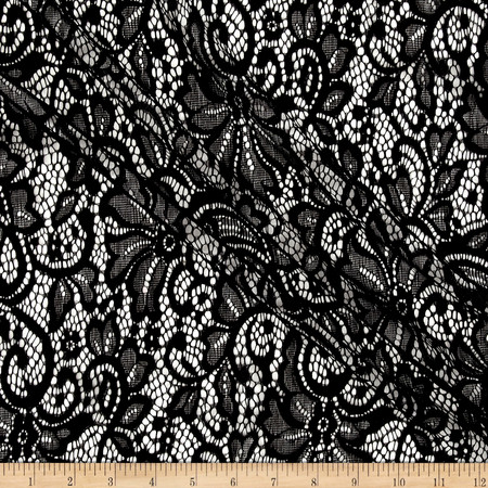 Flower Lace Black Fabric By The Yard
