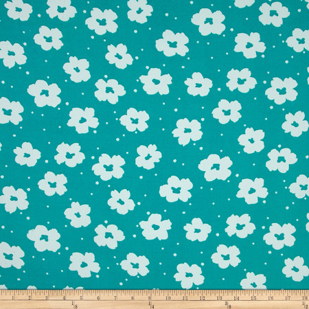 Flower Power Dobby Crepe Print Atlantis/White Fabric By The Yard