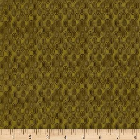 Focus II Raindrops Olive Green Fabric