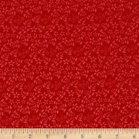Foliage Tonal Red Fabric