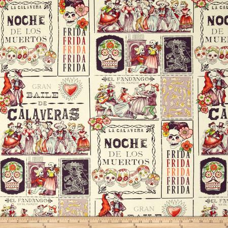 Folklorico Baile de Calaveras Tea/Eggplant Fabric By The Yard