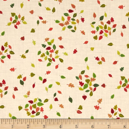 Forest Friends Fallen Leaves Pink/Green/Red Fabric