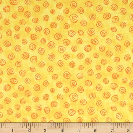 Forest Friends Tonal Swirl Yellow Fabric