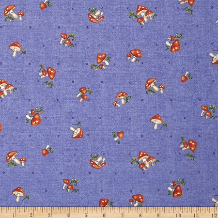 Forest Frolics Mushrooms Blue Fabric