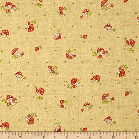 Forest Frolics Mushrooms Gold Fabric