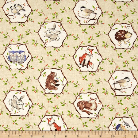 Forest Frolics Octagon Animal Beige Fabric