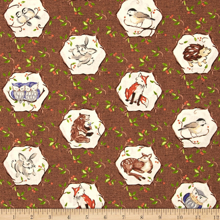 Forest Frolics Octagon Animal Dark Brown Fabric